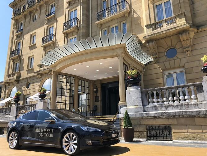 Our Model S in front of Hotel Maria Cristina in San Sebastian