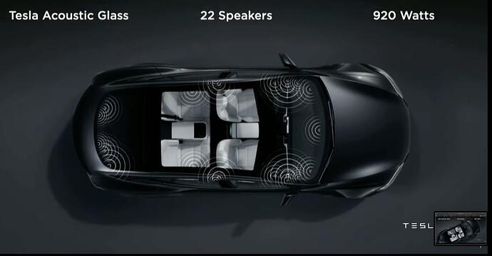 Tesla Akustikglas, 22 Lautsprecher, 920 Watt Systemleistung