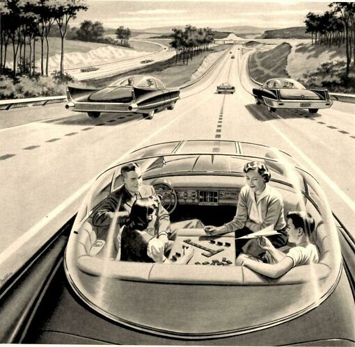Self-driving cars of the future, ca. 1960