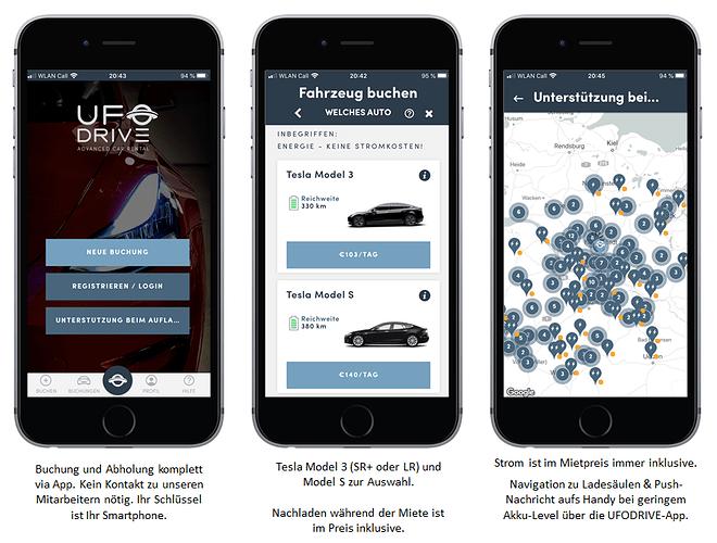 UFODRIVE Tesla Mieten per App UFO DRIVE