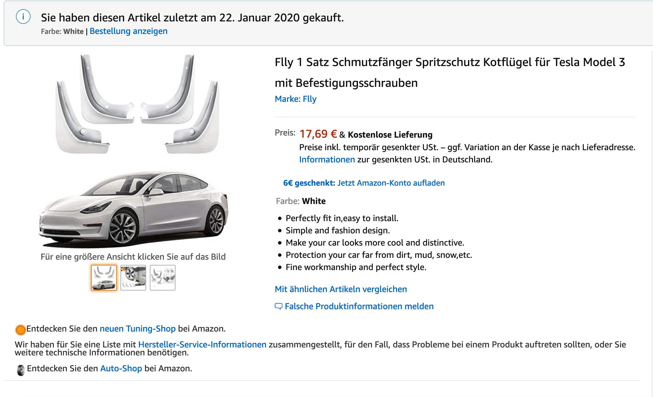 Jaronx Tesla Modell 3 Schmutzfnger Spritzschutz for Tesla Model 3 ...